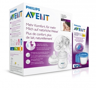Odsávačka mateř.ml. Natural se zásobníkem 125ml+VIA180ml 5ks Philips AVENT