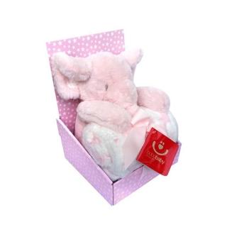 BOBOBABY dětská deka 75x100cm s hračkou Slon růžový 30cm empty c5f75a069c